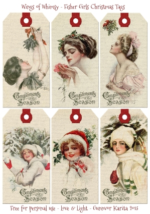 Wings of Whimsy: Fisher Girls Christmas Tags - free for personal use #printable #ephemera #collage #sheet