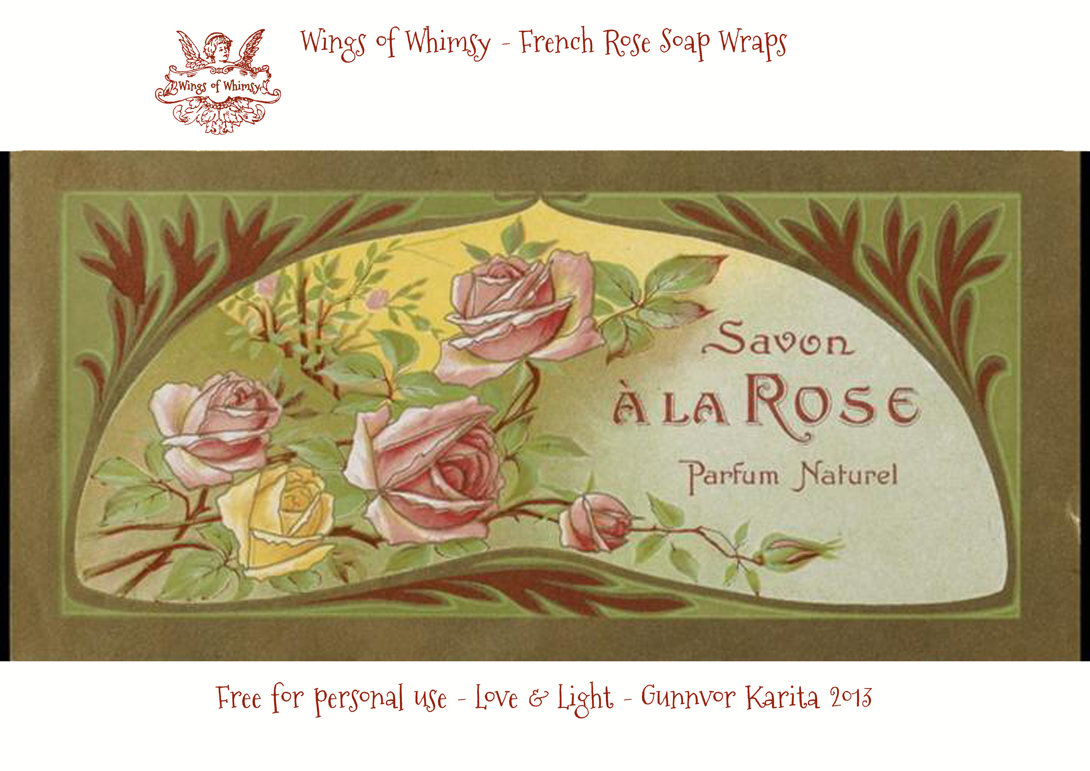 French Rose Soap Wraps – free printables – Wings of Whimsy
