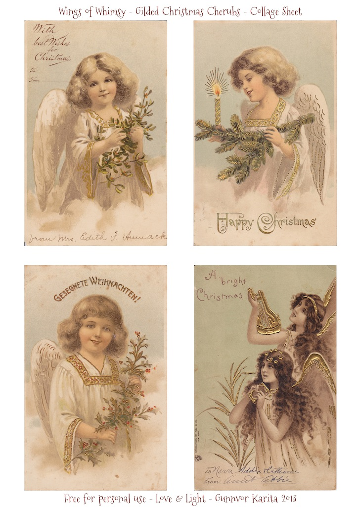 Wings of Whimsy: Gilded Christmas Cherubs - free for personal use #vintage #christmas #ephemera #printable