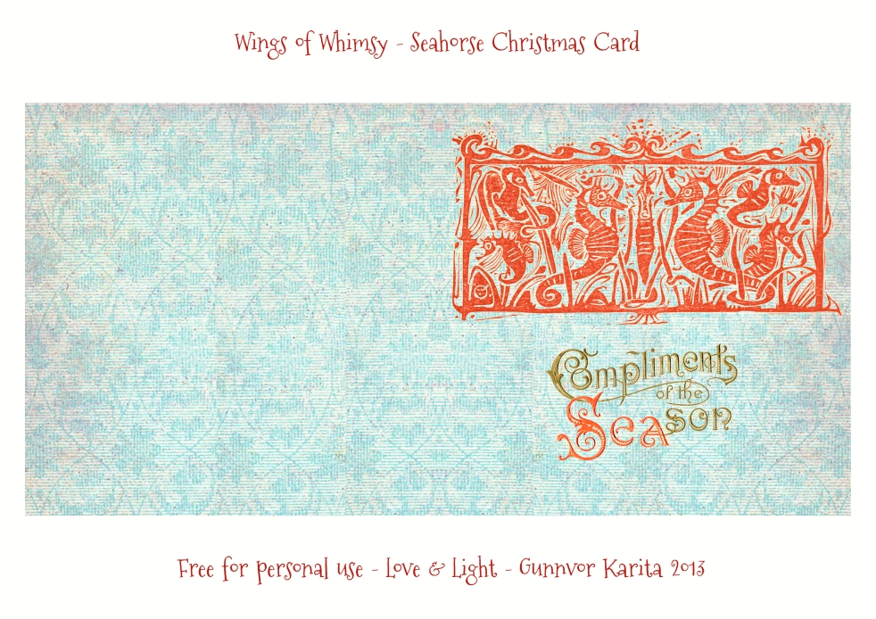 Wings of Whimsy: Vintage Seahorse Christmas Card - free for personal use #vintage #printable #ephemera
