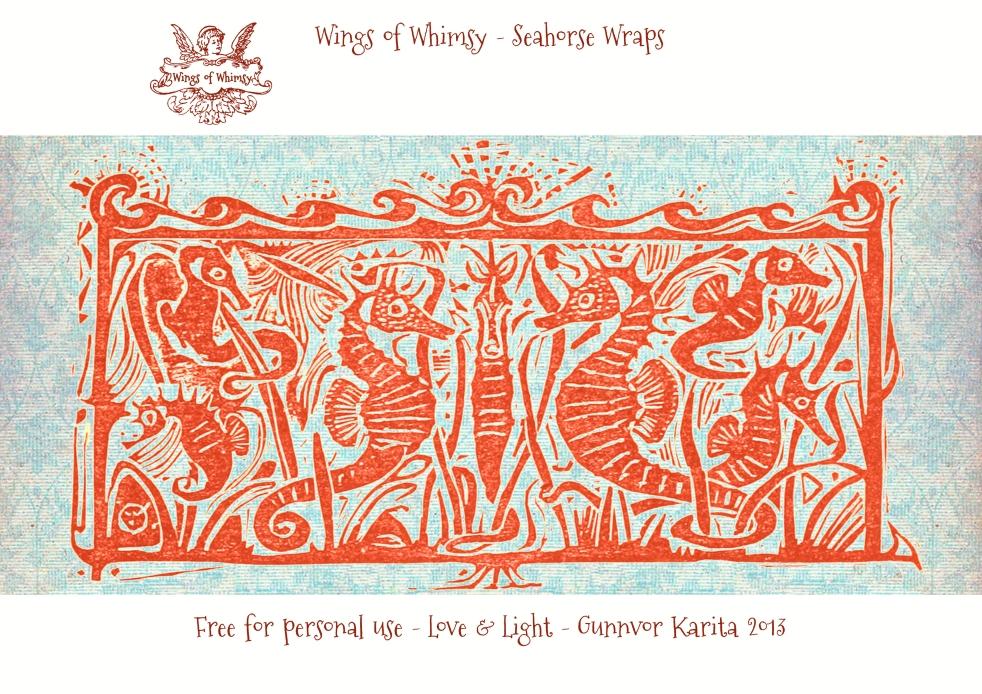 Wings of Whimsy: Seahorse Wrap - free for personal use - #walter #crane #vintage #seahorse #free #printable #ephemera