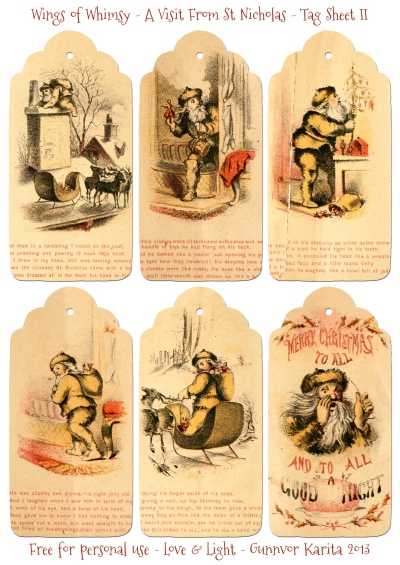 Wings of Whimsy: A Visit From St. Nicholas - Tag Sheet I - free for personal use #vintage #victorian #bookpage #printables