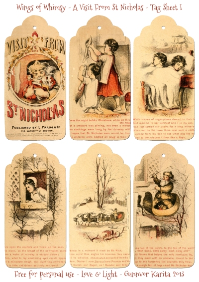 Wings of Whimsy: A Visit From St. Nicholas - Tag Sheet I - free for personal use #vintage #victorian #bookpage #printable