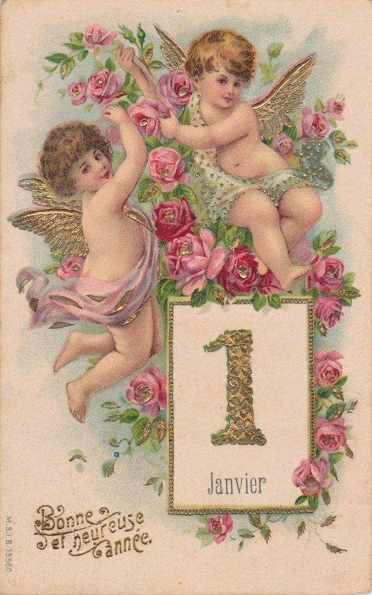 Wings of Whimsy: New Year's Cherubs - Cherubs & Roses Calendar - free for personal use #vintage #ephemera #printable #freebie