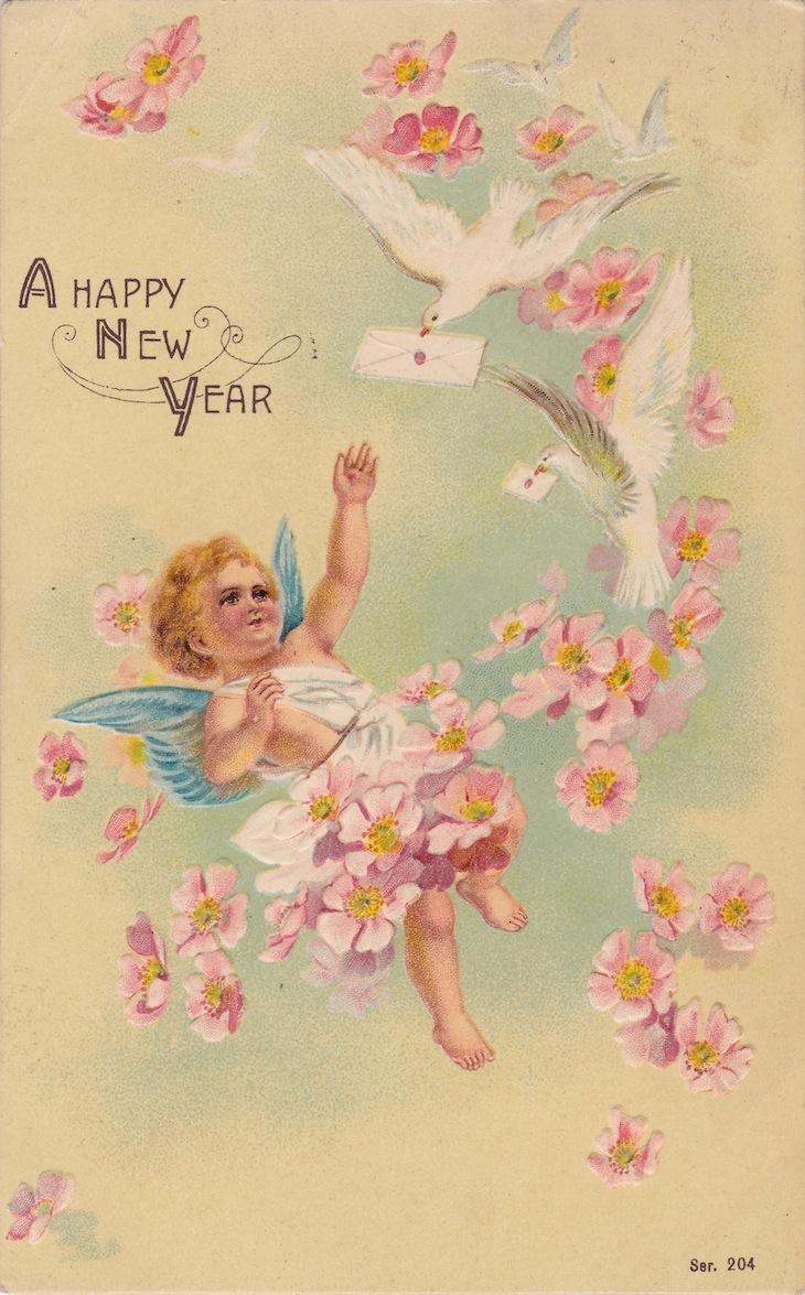 Wings of Whimsy: New Year's Cherubs - Cherub & Doves - free for personal use #vintage #ephemera #printable #freebie