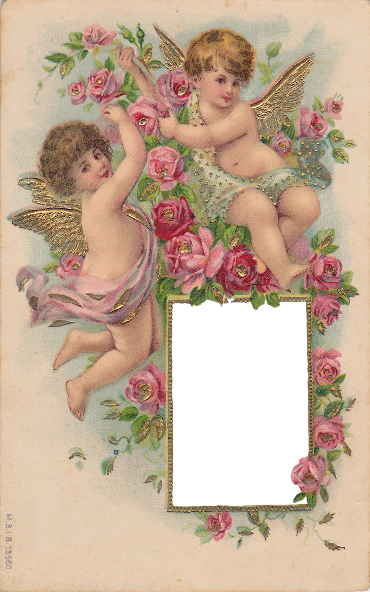 Wings of Whimsy: Cherubs & Roses Frame - PNG (transparent background) - free for personal use #vintage #ephemera #printable #freebie