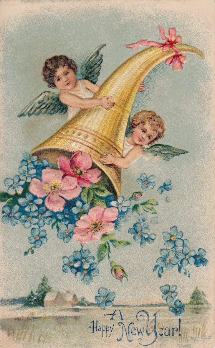 Wings of Whimsy: New Year's Cherubs - Cherubs & Cornucopia - free for personal use #vintage #ephemera #printable #freebie