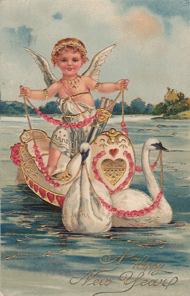 Wings of Whimsy: New Year's Cherubs - Cherub & Swans - free for personal use #vintage #ephemera #printable #freebie kopi