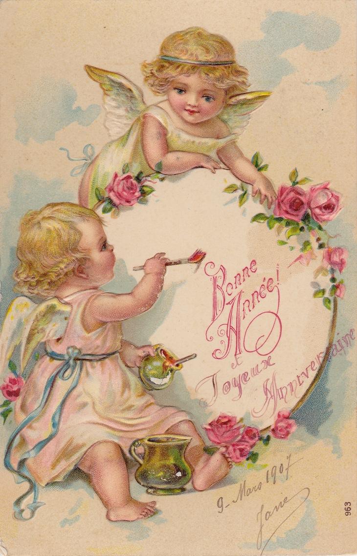 Wings of Whimsy: New Year's Cherubs - Bonne Anne Cherubs - free for personal use #vintage #ephemera #printable #freebie