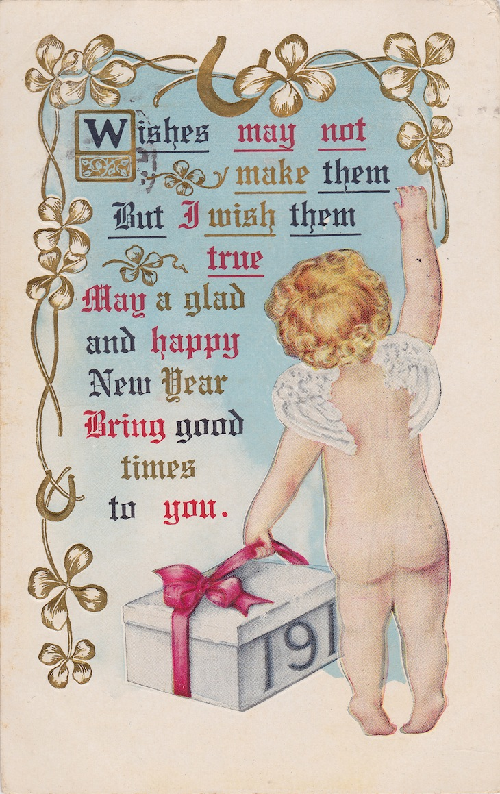 Wings of Whimsy: New Year's Cherubs - Cherub & Gift - free for personal use #vintage #ephemera #printable #freebie