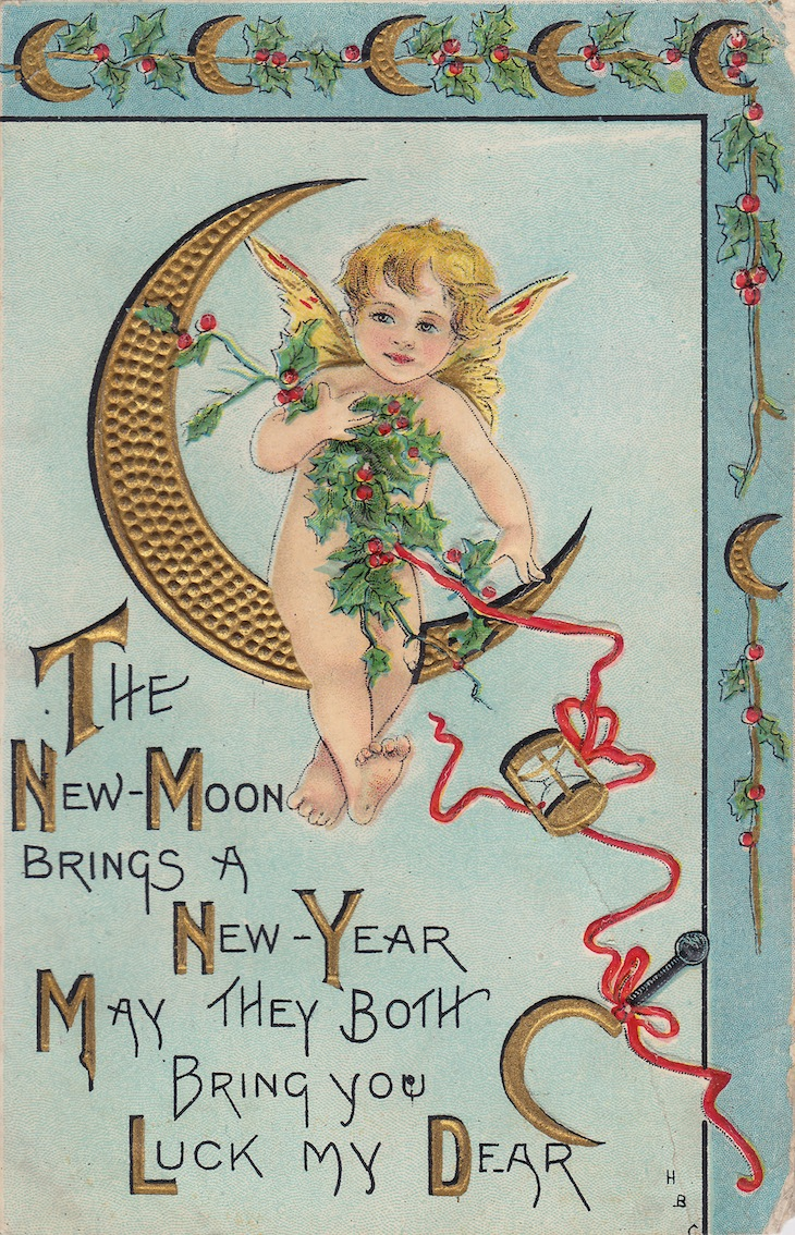 Wings of Whimsy: New Year's Cherubs - Cherub Moon - free for personal use #vintage #ephemera #printable #freebie
