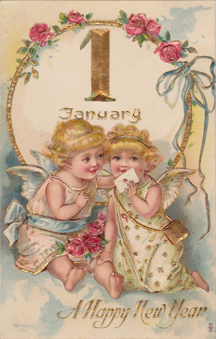 Wings of Whimsy: New Year's January Cherubs - free for personal use #vintage #ephemera #printable #freebie