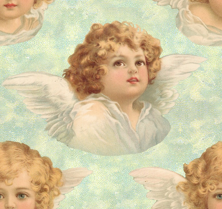 Wings of Whimsy: Cherub Seamless Tile Green - free for personal use #vintage #ephemera #printable
