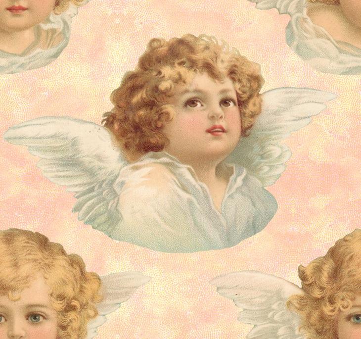 Wings of Whimsy: Cherub Seamless Tile Pink - free for personal use #vintage #ephemera #printable