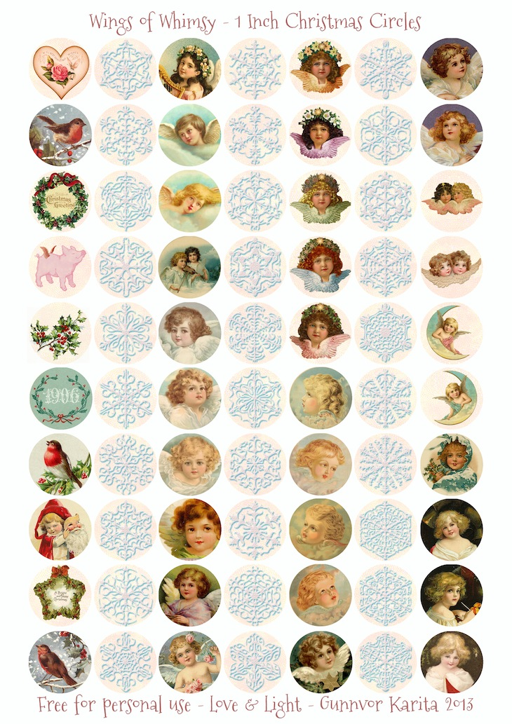 Wings of Whimsy: 1 Inch Circles - free for personal use #printable #freebie #ephemera #vintage