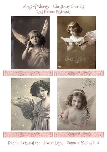 Wings of Whimsy: French Christmas Cherubs in Vintage Frame - free printables #vintage #ephemera