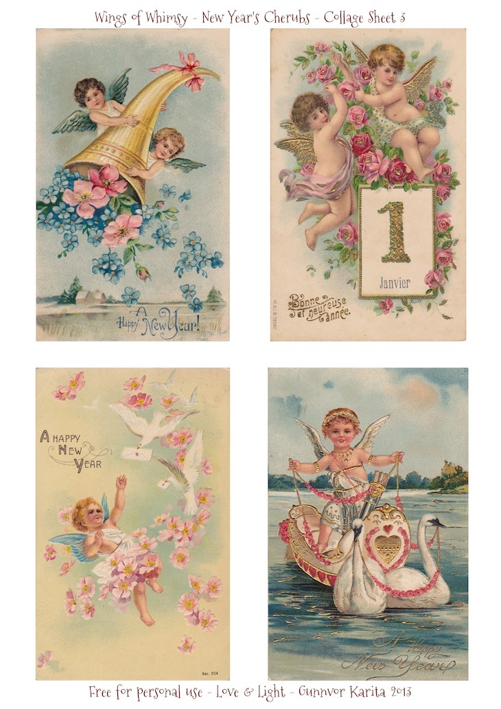 Wings of Whimsy: New Year's Cherubs - Collage Sheet 3 - free for personal use #vintage #ephemera #printable #freebie
