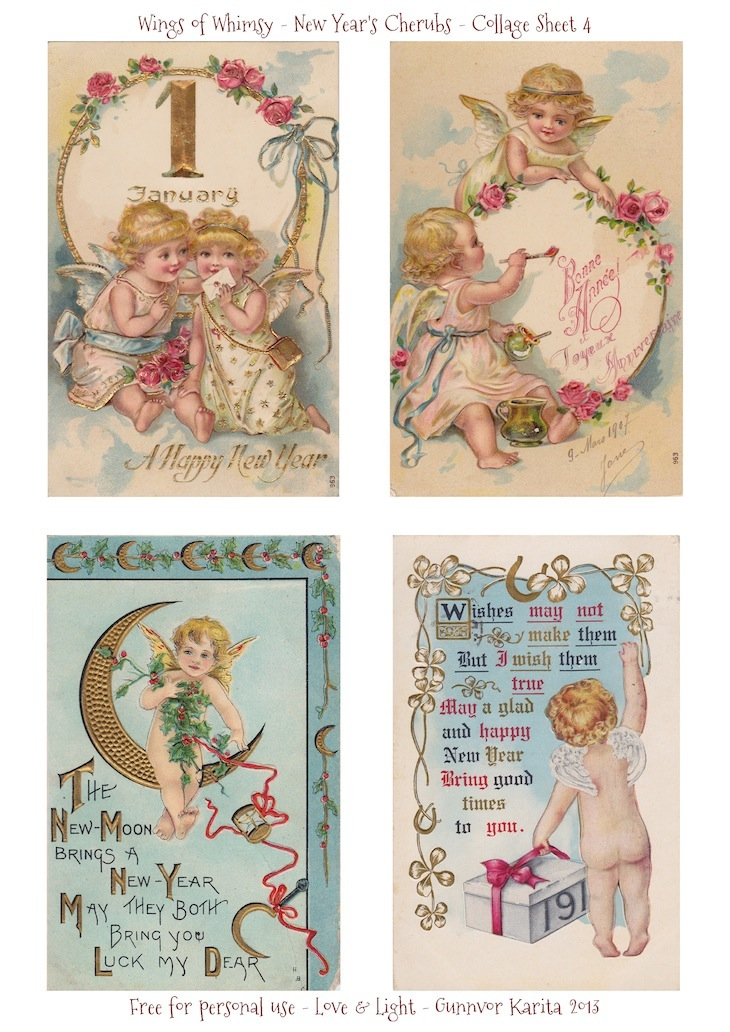Wings of Whimsy: New Year's Cherubs - Collage Sheet 4 - free for personal use #vintage #ephemera #printable #freebie