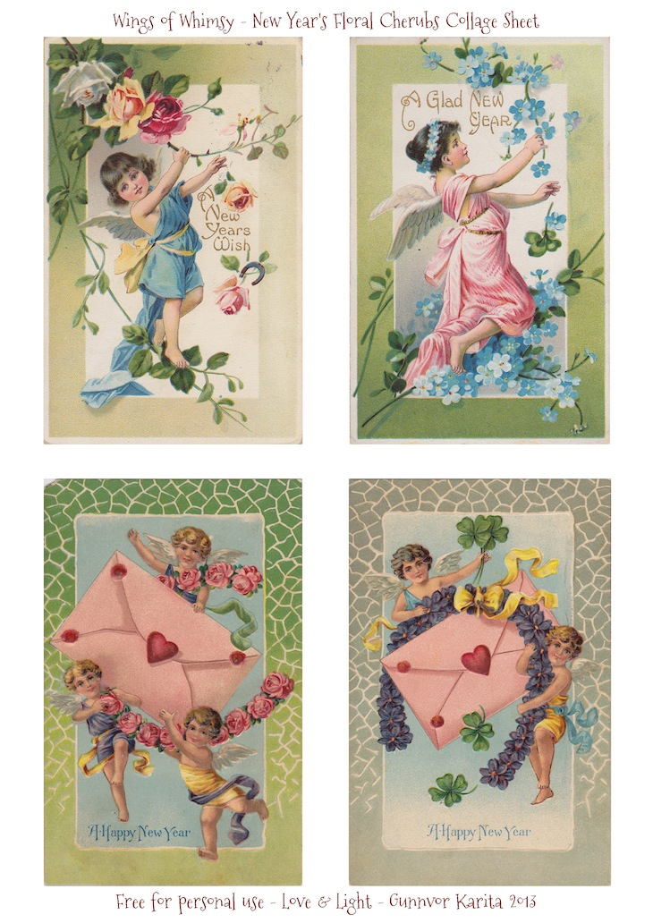 Wings of Whimsy: New Year's Floral Cherubs Collage Sheet - free for personal use #vintage #ephemera #printable #freebie