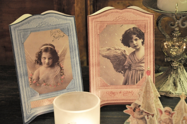 Wings of Whimsy: French Christmas Cherubs in Vintage Paper Frames - free printables #vintage #ephemera