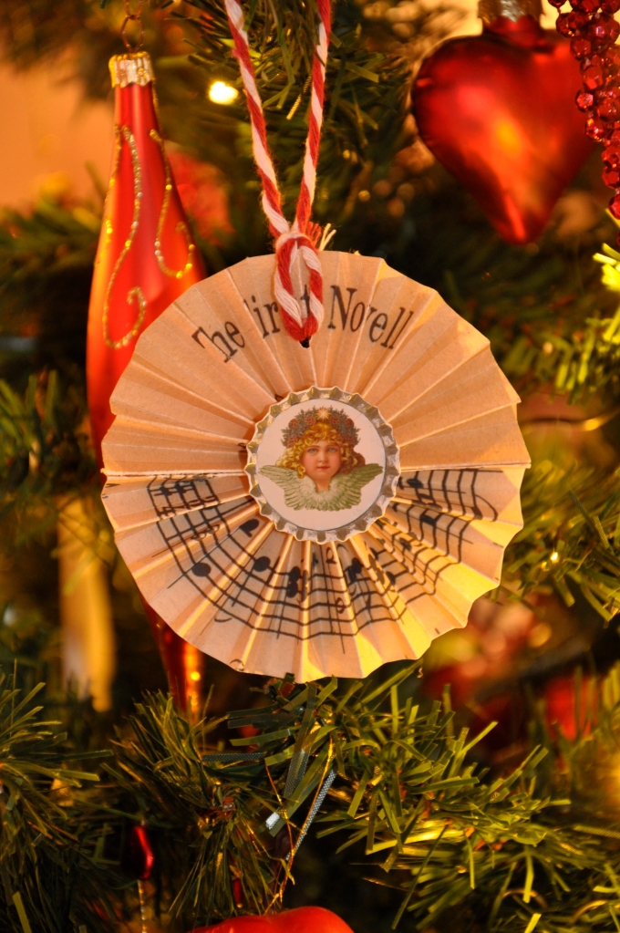 Wings of Whimsy: This years new ornament hung on the tree: Sheet Music Rosette