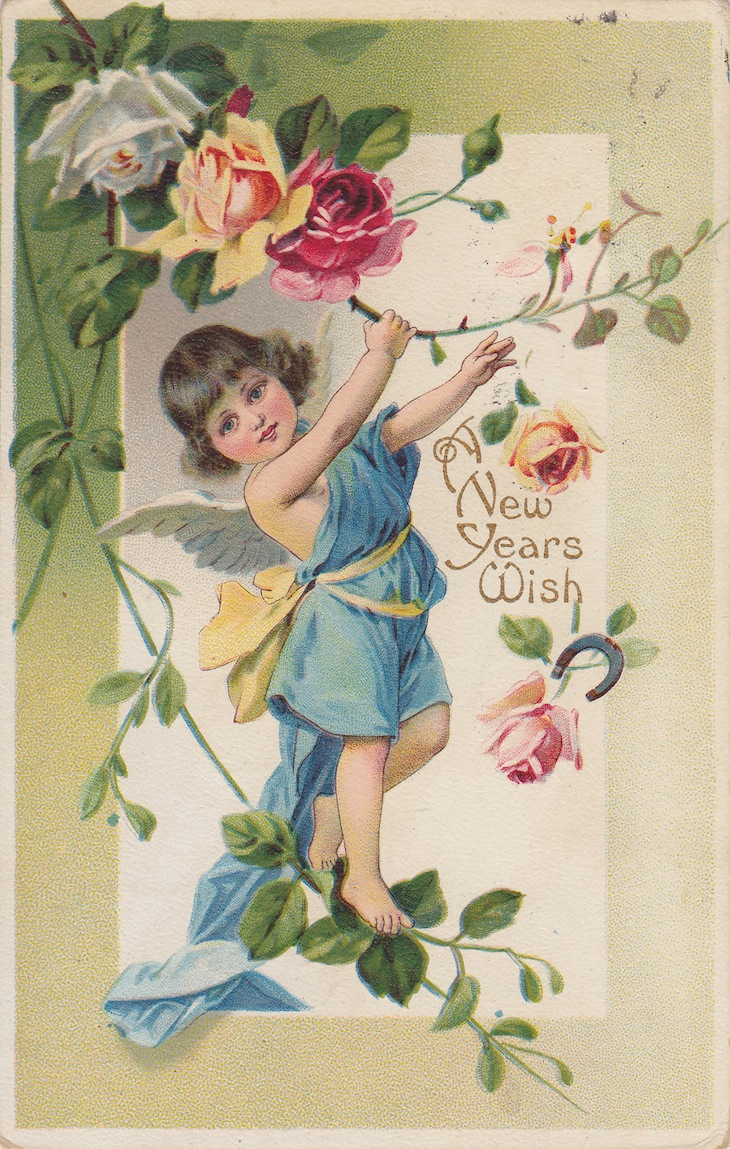 WIngs of Whimsy: New year's Floral Cherub & Roses - free for personal use #vintage #ephemera #printable #freebie