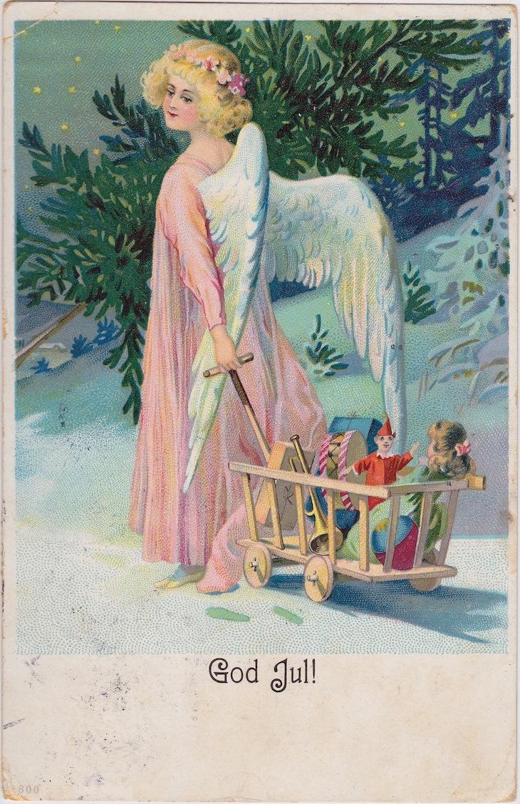 Wings of Whimsy: God Jul Angel - free printable #vintage #shabby #chic #ephemera #postcard