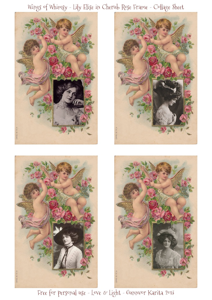 Wings of Whimsy: Lily Elise in Cherub Rose Frame - Collage Sheet - free for personal use #vintage #ephemera #printable #freebie