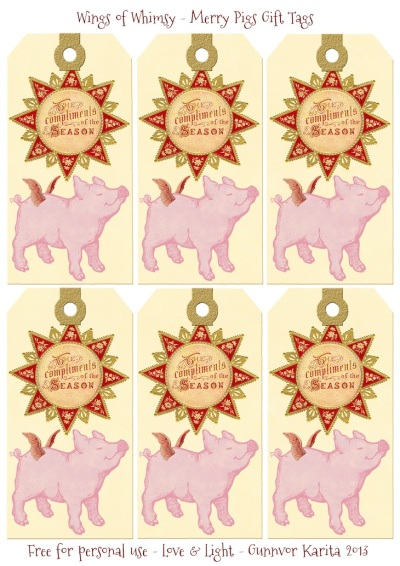 Wings of Whimsy: Merry Pigs Gift Tags - free for personal use #vintage #ephemera #printable