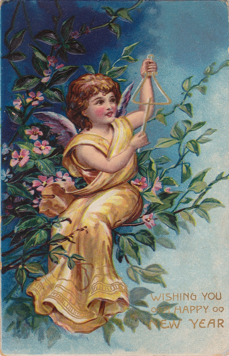 Wings of Whimsy: New Year's Music Cherub Triangle - free for personal use #vintage #ephemera #printable #freebie