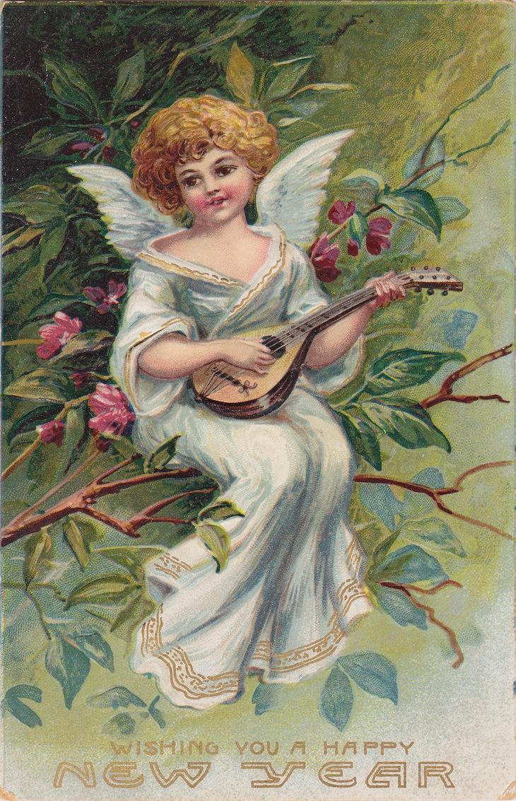 Wings of Whimsy: New Year's Music Cherub Citar - free for personal use #vintage #ephemera #printable #freebie