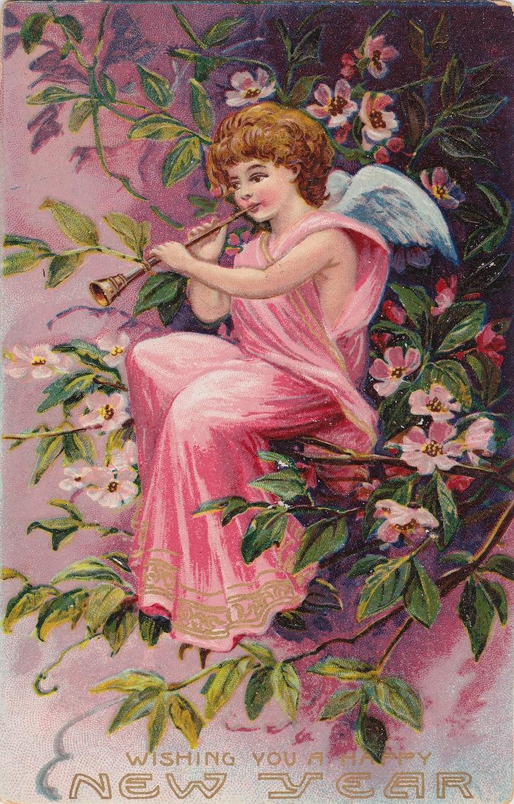 Wings of Whimsy: New Year's Music Cherub Flute - free for personal use #vintage #ephemera #printable #freebie