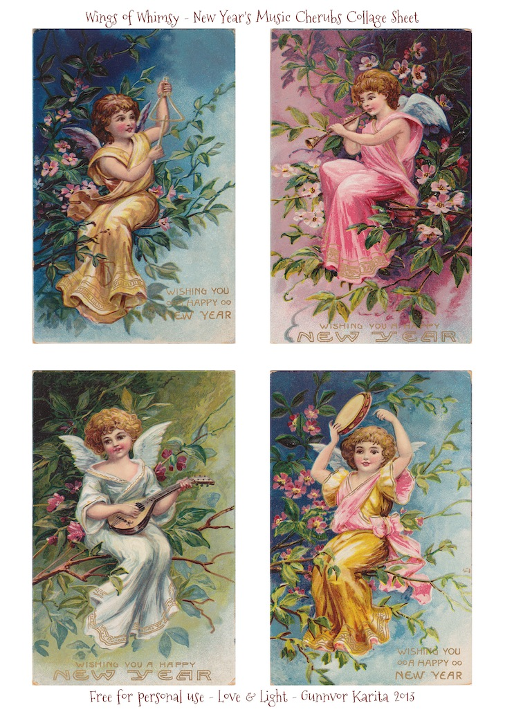 Wings of Whimsy: New Year's Music Cherubs - free printable for personal use #vintage #ephemera #freebie