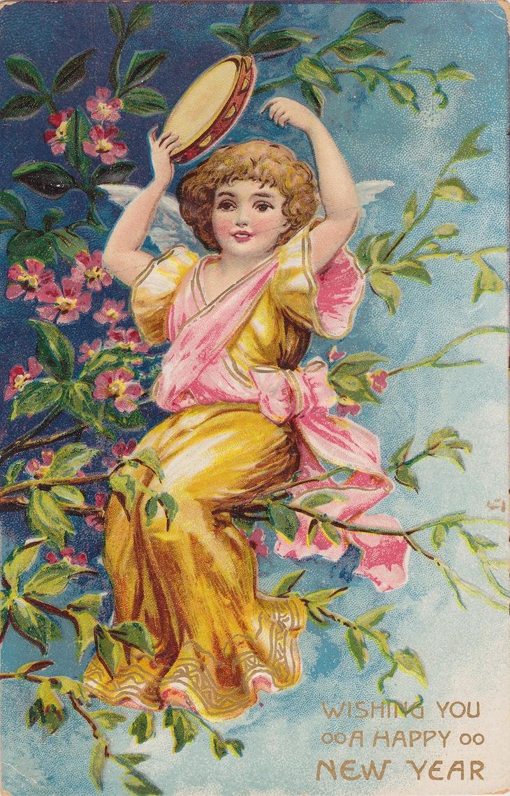 Wings of Whimsy: New Year's Music Cherub Tamburine - free for personal use #vintage #ephemera #printable #freebie