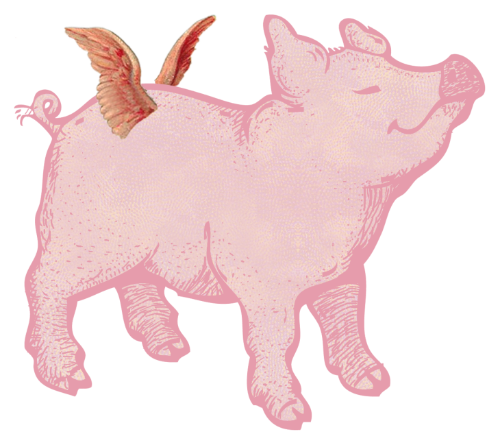 Wings of Whimsy: Christmas Pig PNG (transparent bakcground) - free for personal use #vintage #printable #ephemera