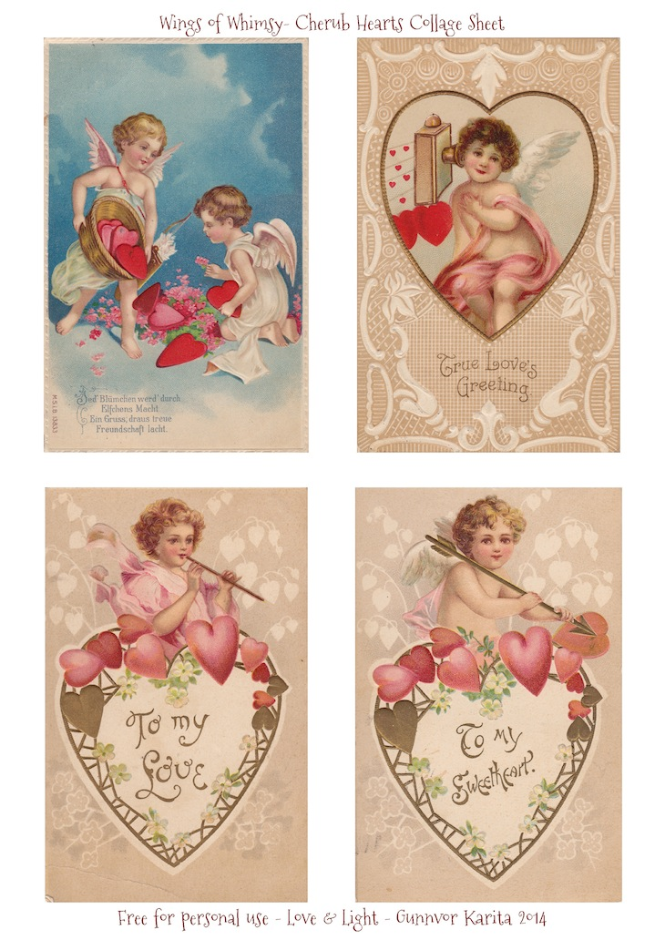 Wings of Whimsy: Cherub Hearts Collage Sheet - free for personal use #vintage #valentine #ephemera #printable #freebie