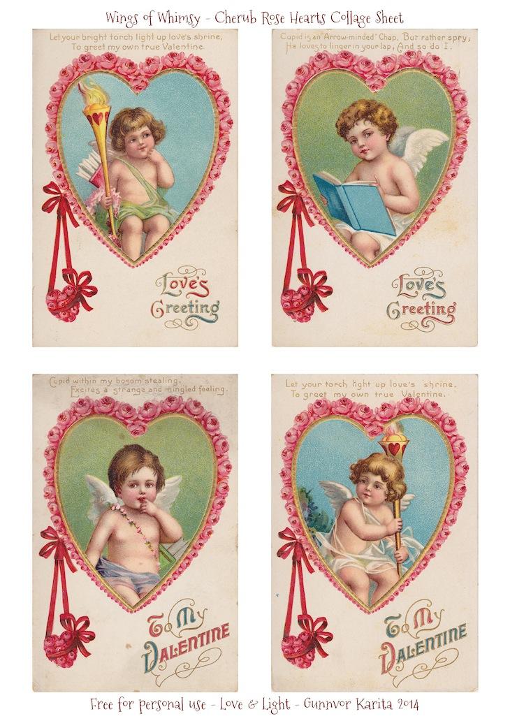 Wings of Whimsy: Cherub Rose Hearts Collage Sheet - free for personal use #vintage #valentine #ephemera #printable #freebie