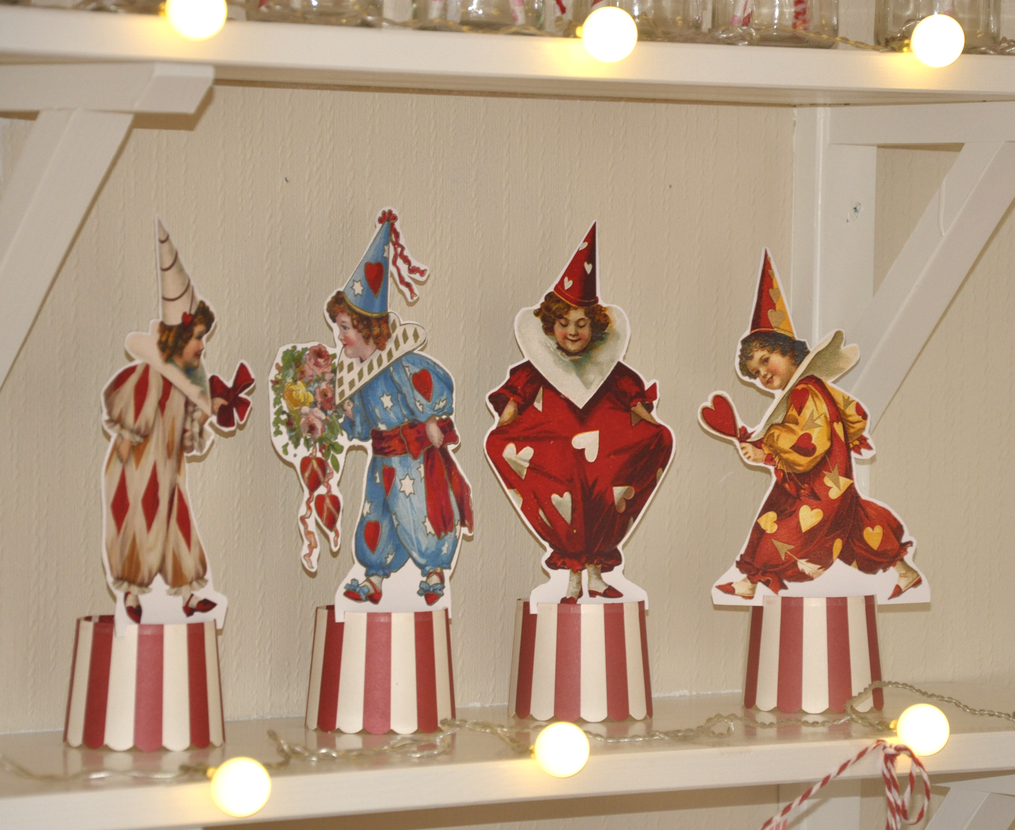 Vintage Valentine Pierrettes Clowns Ephemera Coffee Mug