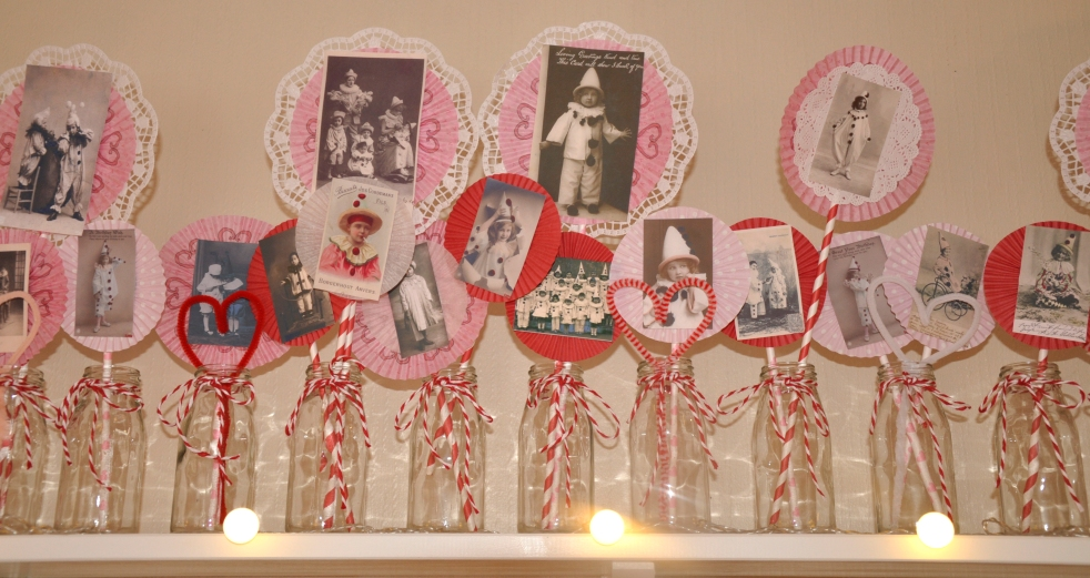 Wings of Whimsy: Valentine Love Circus - DAY 8 - Rosette Sticks - free printables  #vintage #ephemera #valentine #circus #clown #freebie