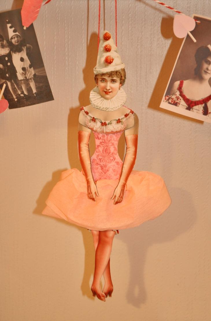 Wings of Whimsy: Pierrette Doll - free printable #vintage #valentine #freebie #pierrette #paperdoll #love #circus #ephemera