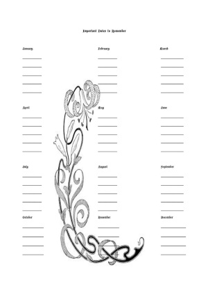 Wings of Whimsy: January Guest Post by Sheri - The Word Whisperer - The Art of Home Management - free printable Victorian journal pages - Sample page: Important Dates