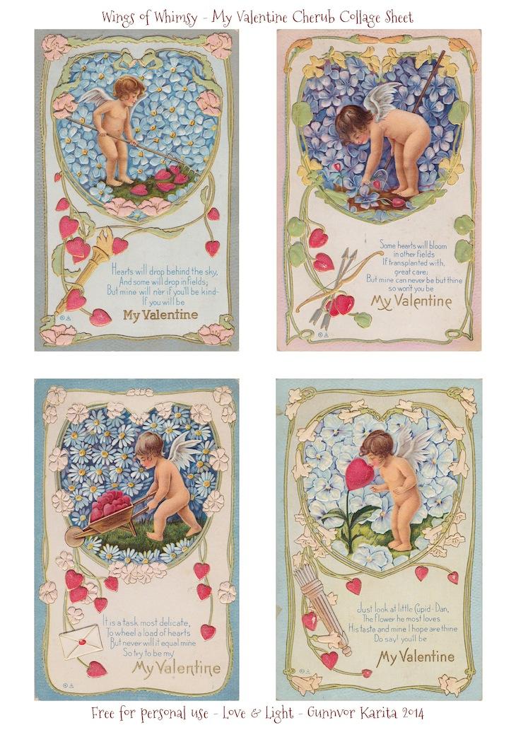 1919 My Valentine Gardening Cherubs Free Printable