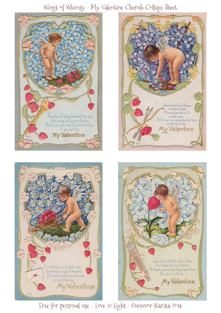 Wings of Whimsy: My Valentine Cherub Collage Sheet - free for personal use #vintage #printable #ephemera #freebie