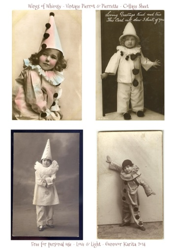 Wings of Whimsy: Pierrot & Pierrette Collage Sheet - free printable #vintage #valentine #ephemera #photo #clown #circus #freebie
