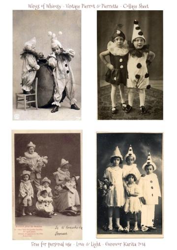 Wings of Whimsy: Pierrot & Pierrette Collage Sheet - free printable #vintage #valentine #ephemera #photo #clown #circus #freebie