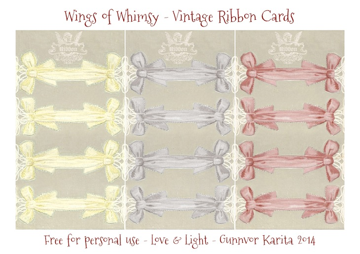 Wings of Whimsy: Vintage Ribbon Cards - free for personal use #vintage #ephemera #printable #sewing #freebie