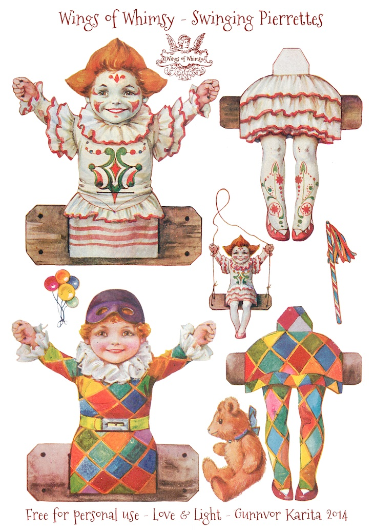 Wings of Whimsy: Swinging Pierrettes - free printable #vintage #ephemera #freebie #valentine #circus #clown #pierrette #columbine #harlequin