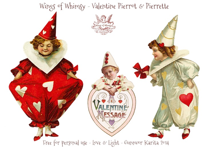 Wings of Whimsy: Vintage Valentine Pierrots & Pierrettes - DAY 2 - free for personal  use #vintage #ephemera #printable #freebie