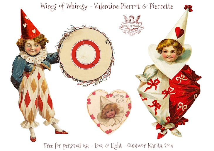 Wings of Whimsy: Vintage Valentine Pierrots & Pierrettes - DAY 3 - free for personal  use #vintage #ephemera #printable #freebie