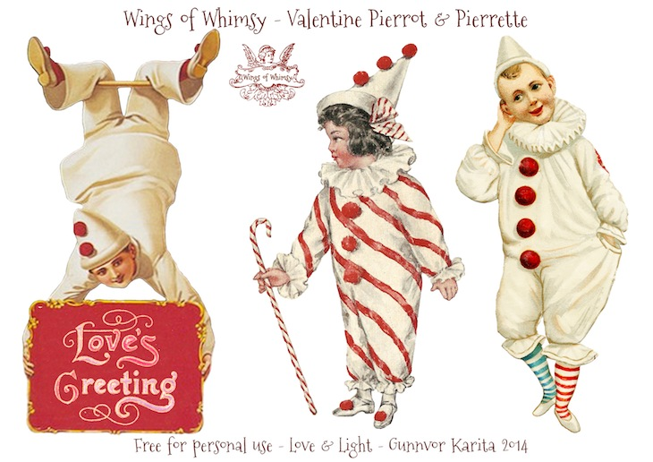 Wings of Whimsy: Vintage Valentine Pierrots & Pierrettes - DAY 4 - free for personal  use #vintage #ephemera #printable #freebie